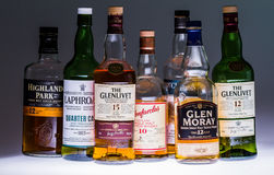 Collection of a few  Popular Single Malt Scotch Bottles. Royalty Free Stock Images