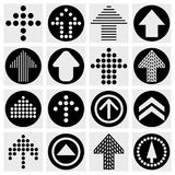 Arrow sign icon set. Simple circle shape internet  Royalty Free Stock Images