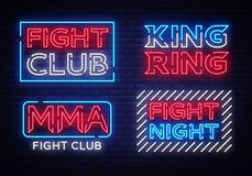 Collection of Fight Club neon signs vector. King of the Ring, MMA, Fight Night neon symbol logo, design element on night. Battles, light banner, night neon Royalty Free Stock Image