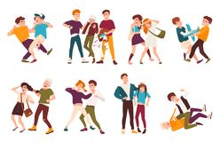 Collection of fighting children. Conflicts between kids, violent behavior among teenagers vector illustration