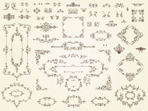 Collection of filigree ornament elements. Collection of elegant calligraphic filigree ornament elements in multiple designs in classical antique style Stock Photography