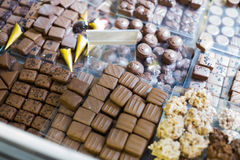 Collection of fine chocolates at tea-room Stock Photos