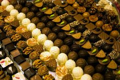 Collection of fine swiss chocolate. In a show-window Stock Images