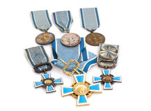 Collection of Finland state sports awards. Kouvola, 21 July 2015. Collection of state sports awards of Finland. Kouvola Royalty Free Stock Photo