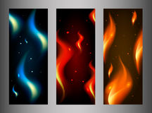 Collection of fire banners. On interesting background, different colors and types Royalty Free Stock Images