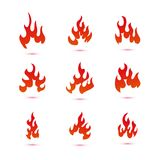 Collection of fire and flames logo graphic stock illustration