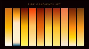 Collection of fire gradient swatches. Illustration Royalty Free Stock Photography