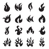 Collection of fire icons isolated. Collection of 16 fire icons isolated on a white background. Vector illustration Royalty Free Stock Image
