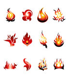 Collection of Fire Icons Stock Image
