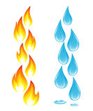Collection of fire icons and water drops Royalty Free Stock Photography