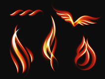Collection fire vector illustration. Languages flame of different shapes. Royalty Free Stock Photography