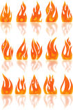 Collection of fires isolated on white. Stock Photo