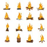 Collection of fires in the style of pixel art. stock illustration