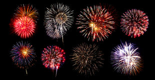 Collection of Fireworks Royalty Free Stock Image