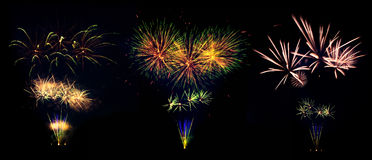 Collection of fireworks explosions isolated on black background Stock Photography