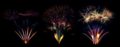 Collection of fireworks explosions isolated on black background Stock Images