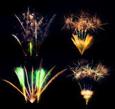Collection of fireworks explosions isolated on black background Stock Photos
