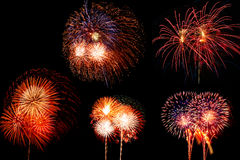 Collection of fireworks. Stock Image