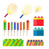 Collection of Fireworks. New Year Decorations. Illustration of different pyrotechnics in shape, size and colour. Attributes of New Year 2017. Bright explosions Stock Photos