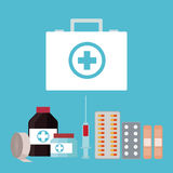 Collection first aid kit medicine Stock Images