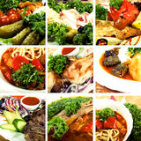 Collection of the first and second courses. Collage of dishes, including cold collation, soup and meat dishes royalty free stock photography