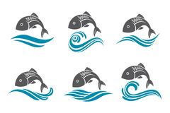 Fish icon set Royalty Free Stock Image