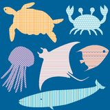 Set 2 of fish silhouettes with simple patterns vector illustration