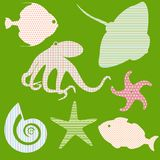 Set 3 of fish silhouettes with simple patterns Royalty Free Stock Image