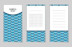 Collection of Fish Or Snake Scales notebook. Stickers, labels, tags. Template for scrapbooking, wrapping, notebooks Stock Photography
