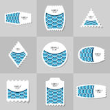 Collection of Fish Or Snake Scales postage stamp. S. Template for scrapbooking, wrapping, notebooks, diary, decals, school accessories Stock Photography