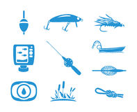 Collection of Fishing icons. Illustration of Fishing equipments, Big set in blue color  on white background, EPS10 Royalty Free Stock Photos
