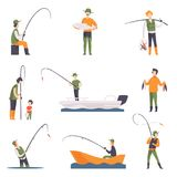 Flat vector set of fishing people with fish and equipment. Fishermen in boats with fishing rods. Outdoor activity. Collection of fishing people with fish and Stock Image