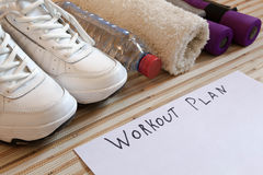 Collection fitness accessories, dumbbells, running shoes,  training Royalty Free Stock Photography