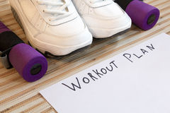 Collection fitness accessories, dumbbells, running shoes,  training Royalty Free Stock Photos