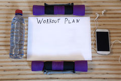 Collection fitness accessories, dumbbells, running shoes,  training Stock Photography