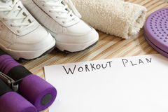 Collection fitness accessories, dumbbells, running shoes,  training Royalty Free Stock Image
