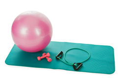 Collection of fitness equipment over white Royalty Free Stock Photography