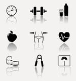 Collection of fitness, sport icons. Stock Photography