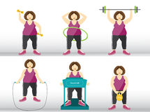 Collection of fitness woman working out on exercise,Vector illustrations Stock Photo