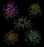 Collection five holiday Fireworks Royalty Free Stock Photography