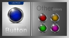 Collection of five multi-colored glass icons. stock illustration