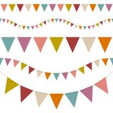 Set Of Five Seamless Buntings Seven Retro Colors vector illustration