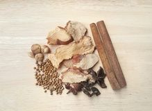 Collection five spicesanise, coriander seeds, galangal,cinnamon Royalty Free Stock Images