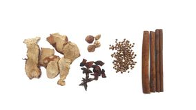 Collection five spicesanise, coriander seeds, galangal,cinnamon Royalty Free Stock Photos