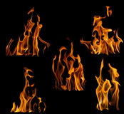 Collection of five yellow flames isolated on black Royalty Free Stock Photography