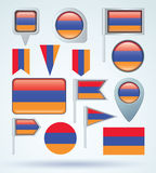 Collection Flag of Armenia, vector illustration Stock Image