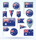 Collection Flag of Australia, vector illustration Royalty Free Stock Image