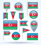 Collection Flag of Azerbaijan, vector illustration Stock Photo