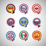 Collection of flag badges different countries Royalty Free Stock Photography