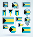 Collection Flag of Bahamas, vector illustration Royalty Free Stock Photography